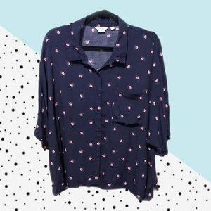 Button down cropped shirt, navy with 💕 print